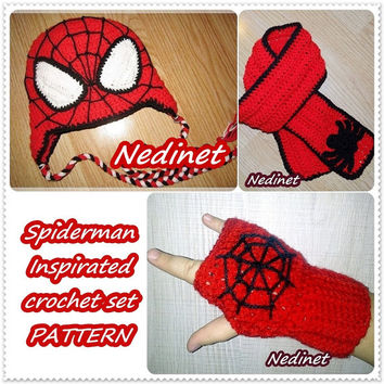 Black Friday, PATTERN Spider-Man Superhero crochet hat, scarf and Fingerless Gloves set Instant Download Pattern red, spider pdf