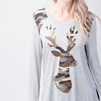 Solid long sleeve top with camo reindeer patch