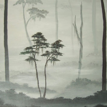 Original Landscape Painting Misty Forest by ABFoleyArtworks