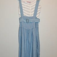 Vintage 90s Blue Jumper Dress Gitano Dress Maxi Dress Overalls Dress Pleated Skirt New Vintage With Tags Size Medium