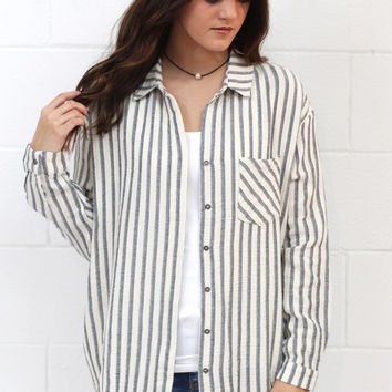 Button Up in Stripes Frayed Hem Tunic {Black} EXTENDED SIZES