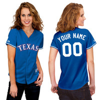 Texas Rangers Women's Personalized Alternate Replica Jersey by Majestic Athletic - MLB.com Shop