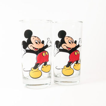 Mickey Mouse Drinking Glasses Set of 2
