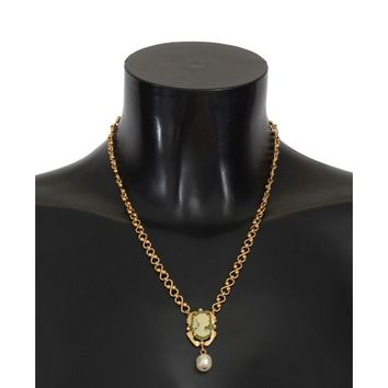 Dolce & Gabbana Gold Brass Pearl Floral Crystal Necklace