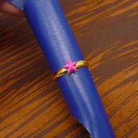 A tiny gold plated pink star mult-task ring, above knuckle ring,adjustable finger ring,stackable ring, toe ring, little finger ring