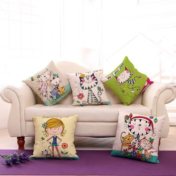 Lovely Cartoon Style Cats and Girl Throw Pillow Cases