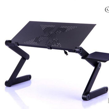 SUFEILE 1PC Portable Picnic Camping Folding Table 360 rolling Adjustable Laptop Desk Stand PC Notebook Bed Tray New D15