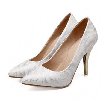 Women Shoes Pointed High Heel Thin Shoes  white