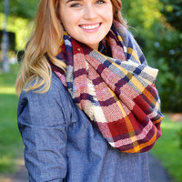 Chill in the Air blanket scarf, wine plaid