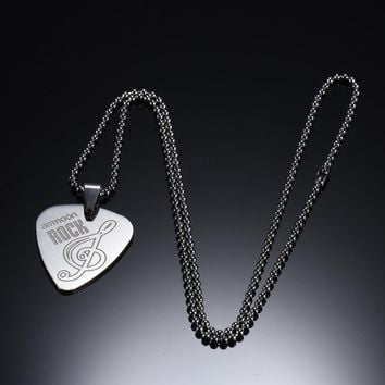 Guitar Pick Necklace with 50cm/20in Ball Chain Silver Color Stainless Steel High Quality Guitar Parts and Accessories
