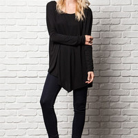 Modern Asymetrical Tunic Top Black