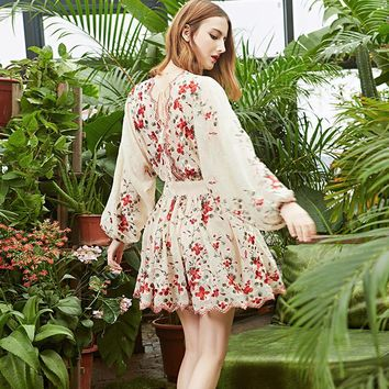 Lace dress 2017 NEW Cherry blossoms floral embroidery summer short dresses batwing long Sleeve sexy back Lace party women dress