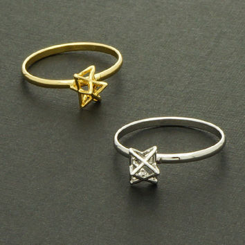 Tiny Star Ring / Silver, Gold / Adjustable Ring / R022