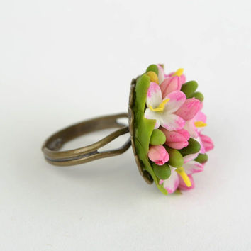 Beautiful ring made of cold porcelain with flowers handmade designer jewelry