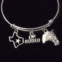 I Love Rodeo Texas and Horse Silver Expandable Charm Bracelet Adjustable Bangle Western Gift