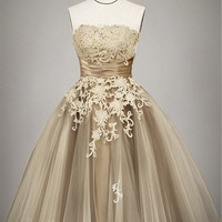2013 champagne Outdoor/ Destination wedding dress, Vintage lace wedding dress, Tea length wedding gowns, Ball gown