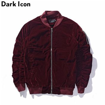 Cotton Padded Velvet Material Elastic on Sleeve Bomber Jacket Men Winter High Street Blank Jackets Men 3 Colors
