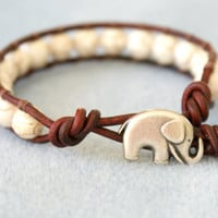 Elephant wrap bracelet, boho jewelry, good luck white Turquoise bracelet, semi precious, hipster, gift for best friend, lucky jewelry