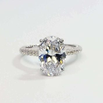 Alexandra 3CT Oval Petite French Pavé Crown IOBI Cultured Diamond Ring