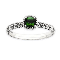 Sterling Silver Stackable Expressions Polished Emerald Ring