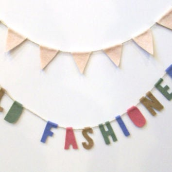 Old Fashioned felt party garland banner in rose, green, periwinkle and brown, Wedding bar decor, Engagement party