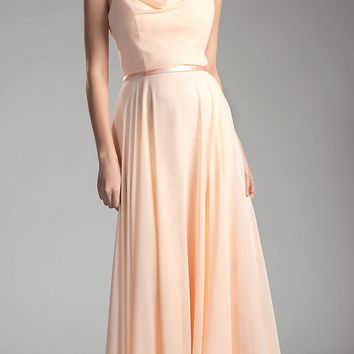 Peach Sleeveless Floor Length Formal Dress with Cowl Neck and Back