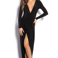 Irene Black Long Sleeve Maxi Dress with Plunging Neckline