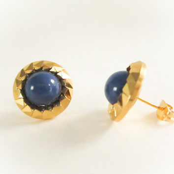 Bridesmaid Earrings,Vintage Blade Pearl Earrings , Blue Pearl Studs, Vintage Button Earrings,Clip on Earrings, Gold Plated , Wedding