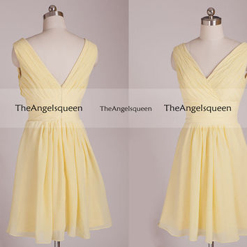 Sweetheart Baby Yellow Double V-neck Straps Pleated Short Party Dress,Bridesmaid dress,cocktail dresses,evening dresses,simple prom dresses