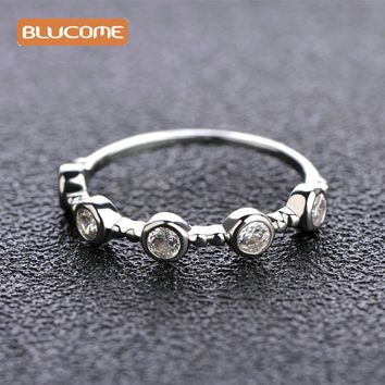Blucome 2017 New Style Copper Zircon Lovers Rings For Wedding Engagement Simple Rhinestones Thin Ring Jewelry Small Size Ring