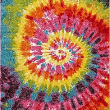 "Tie Dye Retro Rainbow Trippy Multi Hippie Red Orange Yellow Green Modern Painting 8x10 ( 7'10"" x 9'10"" ) Area Rug Easy Clean Stain Fade Resistant Shed Contemporary Geometric Art Thick Soft Plush"