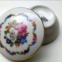 Vintage Porcelain Trinket Box, floral porcelain round box Royal Barvaria Germany