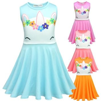 Amuybeen 2019 New Unicorn Christmas Dress Sleeveless Cartoon Casual Kids Princess Dresses for Girls New Years Clothes 9 10 Years
