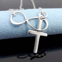 Cross and Infinity, Lariat necklace with sterling silver