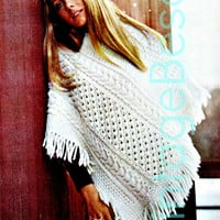 Irish Knit V-neck PONCHO Instant Download PDF Vintage Knitting Pattern Aran Knitting Pattern Bohemian Boho Cowgirl Hippie Country Chic
