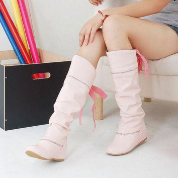 ESBONG Hot Deal On Sale Height Increase Shoes Stylish Rhinestone Butterfly With Heel Knee-length Boots [9432962314]