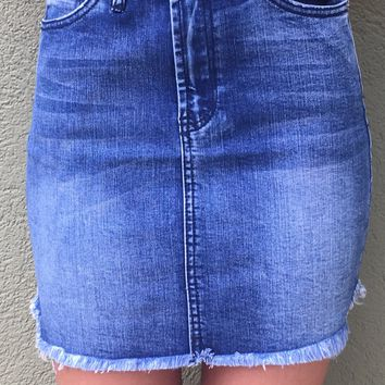 XO Denim Skirt - Blue