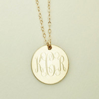 Monogram Necklace Gold Filled Christmas or Bridesmaids Present, Women, Girls