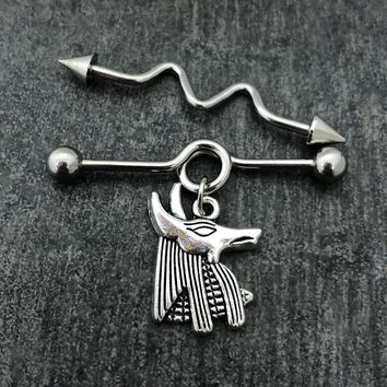 14 gauge Egyptian Anubis Industrial barbell, stainless steel .....Available Barbell sizes 32mm, 35mm, 38mm