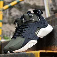 Nike Air Huarache X Acronym City Customise Mid Leather Sport Shoes Army Green White