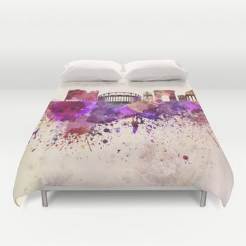 Bucharest skyline in watercolor background Duvet Cover by Paulrommer