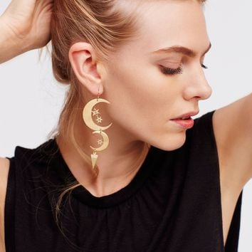Free People Mixed Moons Dangle Earring Set