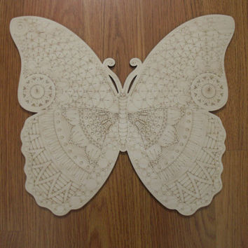 Large Wood Butterfly, Laser Cutouts, Unfinished Wood, Home Decor, Wall Art, Wood Shapes, Wreath Accent, Door Hangers, Ready to Paint Art