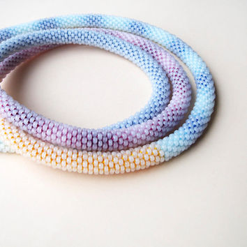 Long beaded crochet necklace, rope - Pastels Blue Pink Yellow Beadwork
