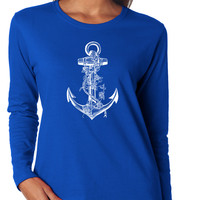 Nautical Anchor with Roses Long Sleeve Tee