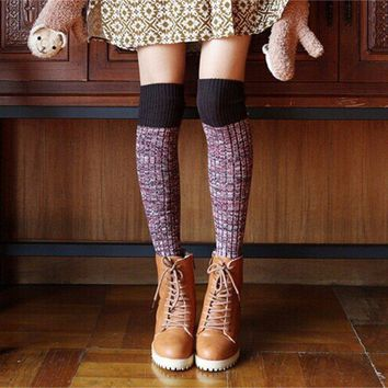 Women Thicken Wool Cotton Over Knee Long Socks Japanese Style Retro Warm Thigh High Stockings