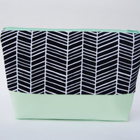 Herringbone Cosmetic Case, makeup bag, zipper pouch handmade with designer fabric in Navy Blue and Mint Green