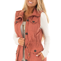 Clay Zip Up Button Vest with Draw String and Pockets