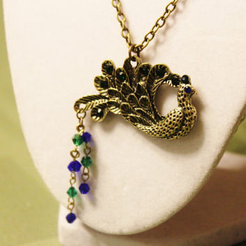 Peacock Necklace - Brass Peacock Pendand with Green and Blue Swarovski Crystals Hanging on a Long Brass Chain