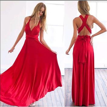 2018 Sexy Women Boho Maxi Club Dress Red Bandage Long Dress Party Multiway Bridesmaids Convertible Infinity Robe Longue Femme